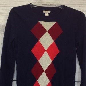 J Crew Merino Wool Blend Argyle Sweater Size XS